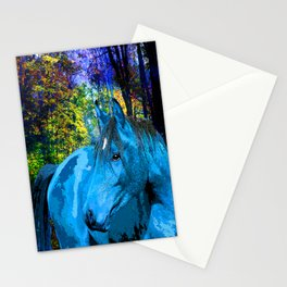 FANTASY HORSE BLUE I MET IN THE FOREST Stationery Cards