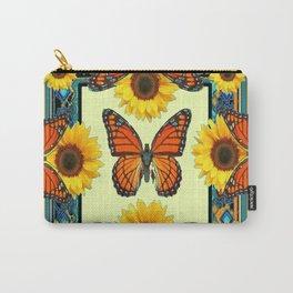 Teal & Orange Monarch Butterflies  Sunflower Patterns Art Carry-All Pouch