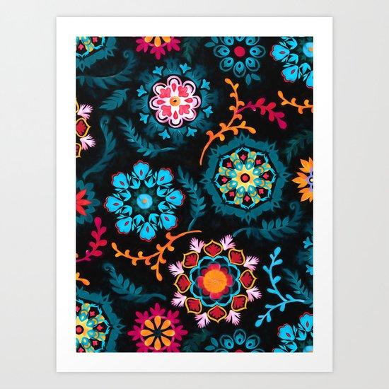 Suzani Inspired Pattern on Black Art Print