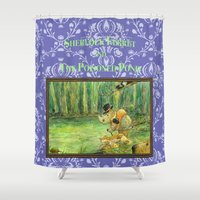ferret Shower Curtains featuring Sherlock Ferret and the Poisoned Pond (cover) by Sherlock Ferret