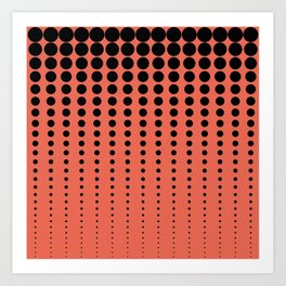 Reduced Black Polka Dots Pattern on Solid Pantone Living Coral Background Art Print