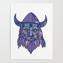 Viking Head Mascot Mosaic Poster
