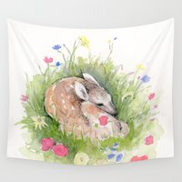 fawn Wall Tapestries featuring Little Fawn by Julia Marshall