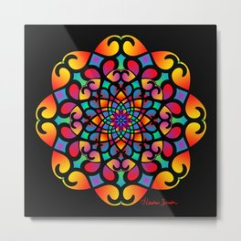 Spirograph Swirls Mandala Metal Print