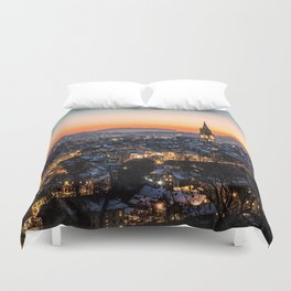 Bern Switzerland Night Skyline Duvet Cover