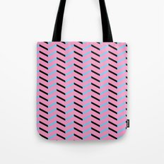 Blue and Black Chevron on Hot Pink Tote Bag