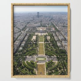 Aerial view of The Champ de Mars from the Eiffel Tower Serving Tray