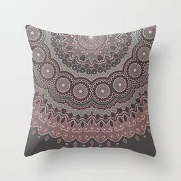 Mandala Spirit, Rose Pink, Gray Throw Pillow