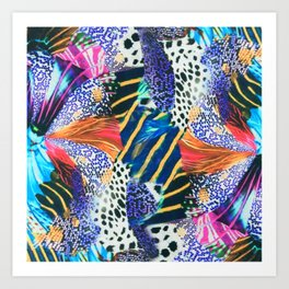 Flowers, Petals, Butterfly - Pattern with Neon Colors Art Print