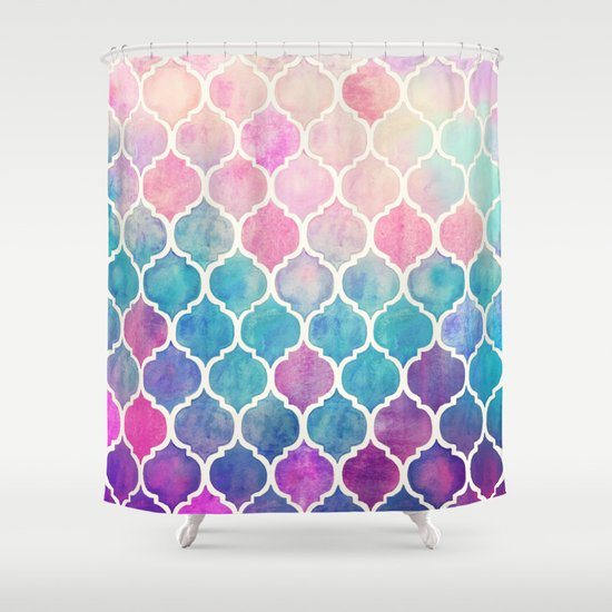 rainbow pastel watercolor moroccan pattern shower curtain by micklyn society6