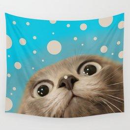 """""""Fun Kitty and Polka dots"""" Wall Tapestry"""