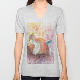 Watercolor Fox in the Forest Unisex V-Neck