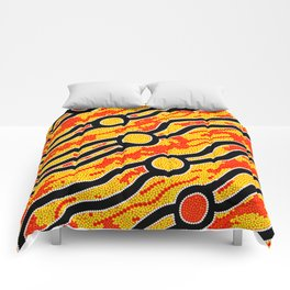 Authentic Aboriginal Art - Bush Fires Comforters