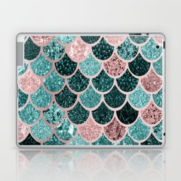 Mermaid Fish Scales, Pink, Rose Gold, Teal, Emerald Green Laptop & iPad Skin