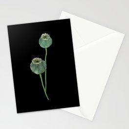 Seasons K Designs Poppy Pod Print on Black Stationery Cards