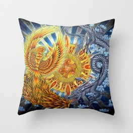 Chinese Phoenix and Dragon Mandala Throw Pillow