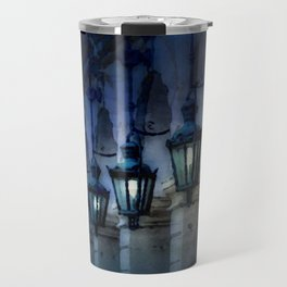 Arches and Lamps in Greece Night Travel Mug