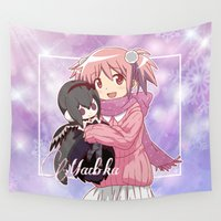 madoka magica Wall Tapestries featuring Madoka Kaname in Winter Dress by Neo Crystal Tokyo