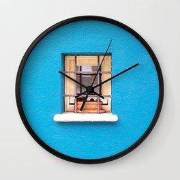 BROWN CLAY POT ON WINDOW Wall Clock