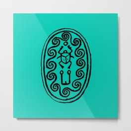 Ancient Egyptian Amulet Turquoise Blue Metal Print