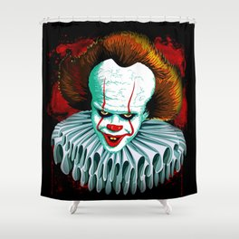 The Dancing Clown - Pennywise IT - Vector - Stephen King Character Shower Curtain