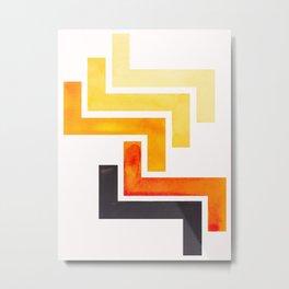 Orange Ancient Aztec Pattern Mid-century Modern Simple Geometric Pattern Watercolor Minimalist Art S Metal Print
