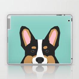 Tricolored Corgi cute corgi dog portrait custom dog art pet friendly dog head cell case Laptop & iPad Skin