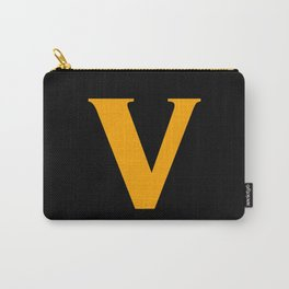 v (ORANGE & BLACK LETTERS) Carry-All Pouch
