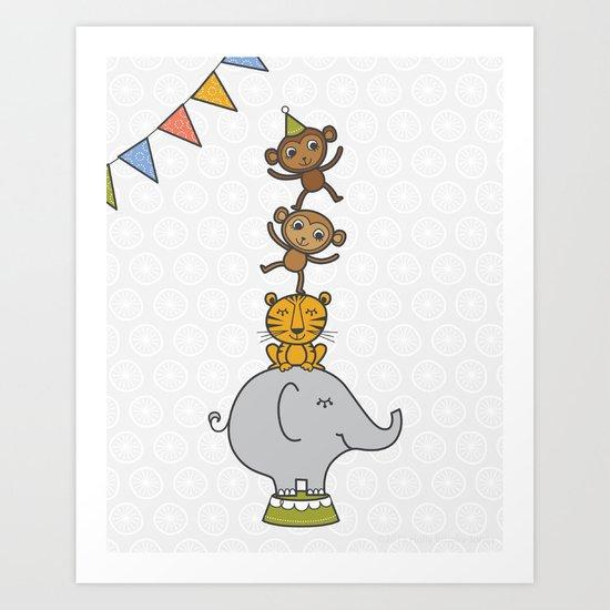 Circus animals Art Print