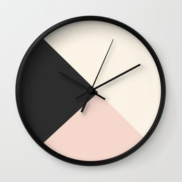 Geometrical coral ivory black modern color block Wall Clock