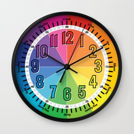 Learn to Tell Time Color Wheel Wall Clock