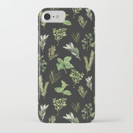 Delicate Herb Illustrations on Black iPhone Case