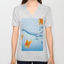 GOLDFISH AQUARIUM WATER ART Unisex V-Neck
