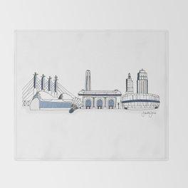Kansas City Skyline Illustration in Sporting KC Colors Throw Blanket