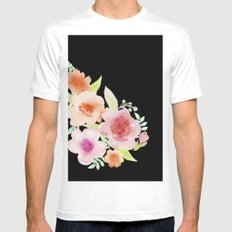 Spanish flowers White MEDIUM Mens Fitted Tee