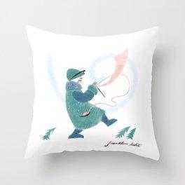Winter Knitter Throw Pillow