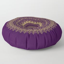 Harmony Circle of Gold on Purple Floor Pillow