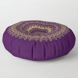 Harmony Circle of Gold on Purple Floor Pillow