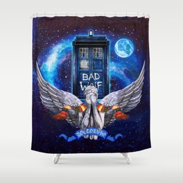 The Angel with Tardis Shower Curtain