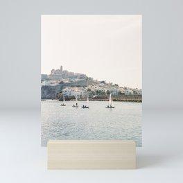 "Travel photography ""Dalt Vila by Boat"" | Modern wall art Ibiza Spain white tones port coast Mini Art Print"