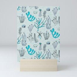 Sea Coral Light Blue Mini Art Print