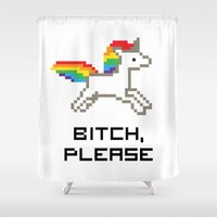 8 bit Shower Curtains featuring 8-bit Unicorn by Molly Quist