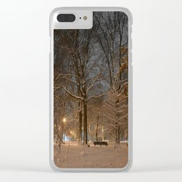 Dog in the Snow Clear iPhone Case