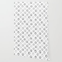 Black and grey paw print pattern Wallpaper