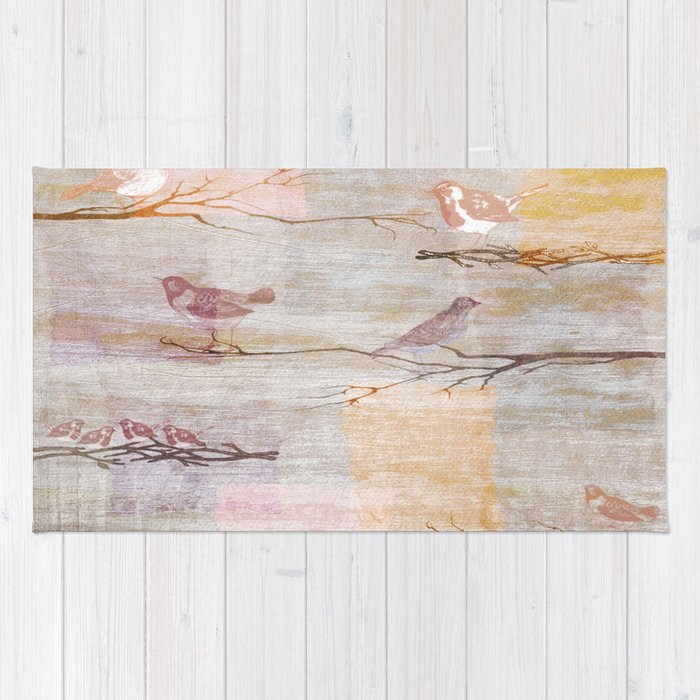 Golden Pink Birds Rug