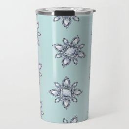 Jewelbox: Diamond Brooch Repeat in Eggshell Aqua Travel Mug