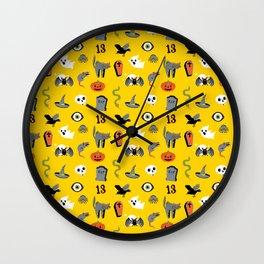 Halloween Pattern in Yellow Wall Clock