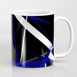 Seamless Royal Blue and White Stripes on A Black Background Coffee Mug