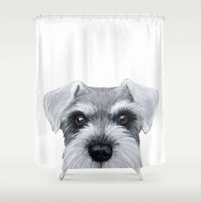 Schnauzer Greywhite Dog Illustration Original Painting Print Shower Curtain