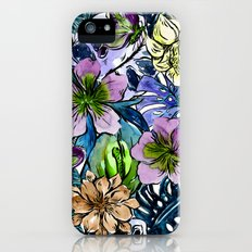 Tropical Blue Flower Hibiscus Garden iPhone SE Slim Case